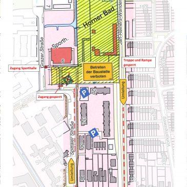 Die Bauarbeiten am Horner Bad beginnen: Umleitungsplan für Fußgänger und Radfahrer